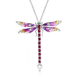 3.1克拉红宝石 珐琅钻石吊坠 胸针 两用款