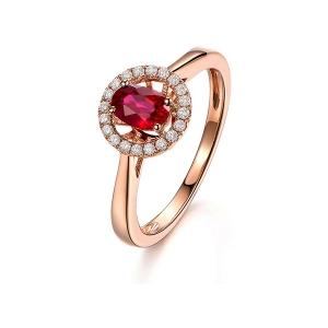 0.57克拉红宝石 11分钻石戒指