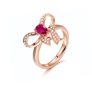0.455克拉红宝石 15分钻石戒指