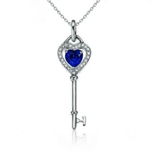 0.41克拉蓝宝石 11分钻石吊坠