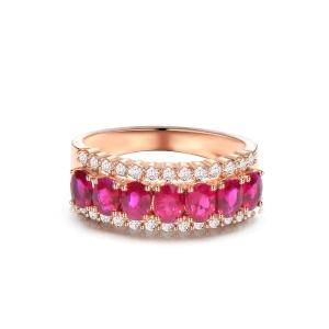 1.24克拉红宝石 31分钻石戒指