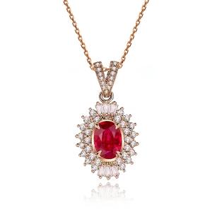 1.06克拉红宝石 70分钻石吊坠
