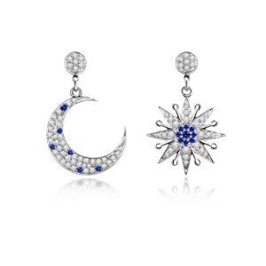 0.15克拉蓝宝石 33分钻石耳坠