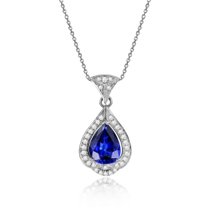 0.995克拉蓝宝石 14分钻石吊坠