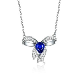 1.035克拉蓝宝石 15分钻石项坠
