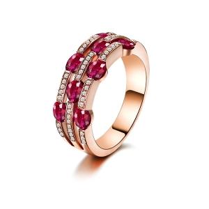 1.62克拉红宝石 13分钻石戒指