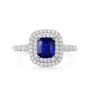 0.995克拉蓝宝石 57分钻石戒指