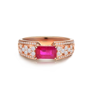 1.01克拉红宝石 37分钻石戒指