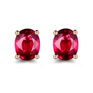 G18K金红宝石耳钉;550-900元/对