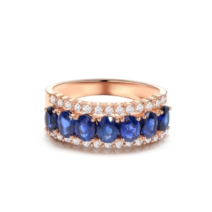 1.990克拉蓝宝石 0.433钻石戒指