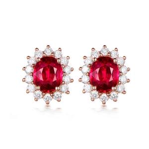 0.930克拉红宝石 0.284钻石耳钉