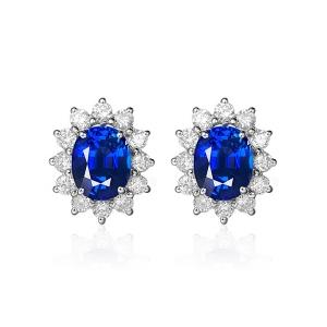 0.810克拉蓝宝石 0.360钻石耳钉
