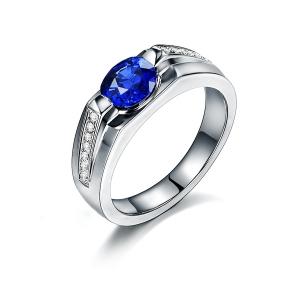 1.230克拉蓝宝石 0.111钻石戒指