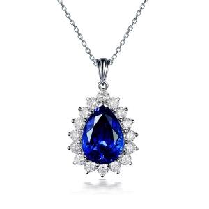 1.210克拉蓝宝石 36分钻石吊坠