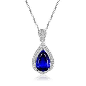 1.150克拉蓝宝石 16分钻石吊坠