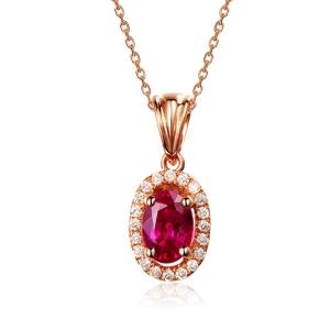 0.750克拉红宝石 15分钻石吊坠