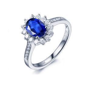 1.310克拉蓝宝石 43分钻石戒指