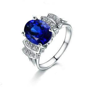 1.090克拉蓝宝石 6分钻石戒指