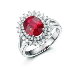 0.8克拉鸽血红红宝石 60分钻石戒指