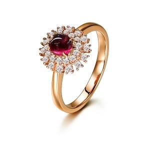 1.230克拉红宝石 33分钻石戒指