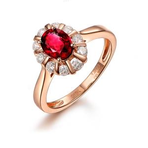 0.850克拉无烧红宝石 22分钻石戒指