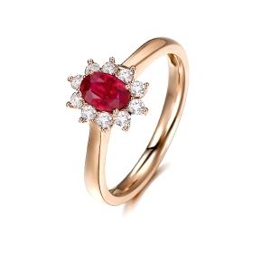 0.700克拉无烧红宝石 35分钻石戒指
