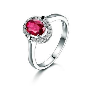 0.610克拉红宝石 11分钻石戒指
