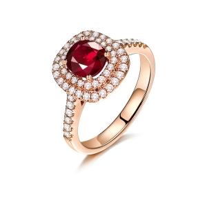 1.010克拉无烧红宝石 44分钻石戒指