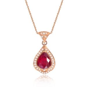 0.810克拉GIL红宝石钻石吊坠