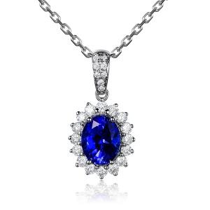 2.16克拉蓝宝石 32分钻石吊坠