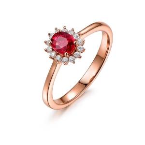 0.84克拉红宝石 24分钻石戒指