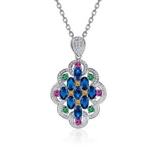 3.030克拉蓝宝石 1.04克拉彩宝钻石吊坠