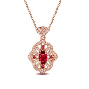 0.760克拉红宝石 25分钻石吊坠