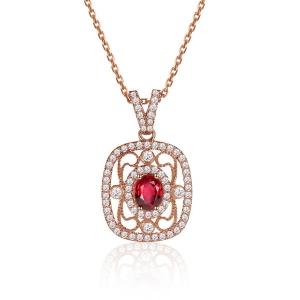 0.500克拉红宝石 38分钻石吊坠
