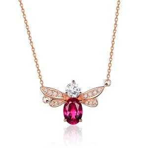 0.420克拉红宝石 13分钻石吊坠