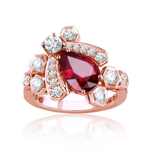 0.71克拉红宝石 19分钻石戒指