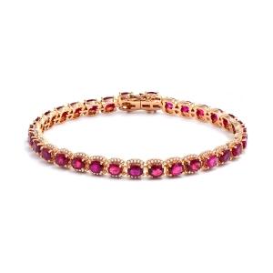 红宝石钻石手链约14克红宝石约6.8克拉