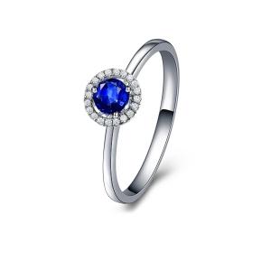 0.14克拉蓝宝石 5分钻石戒指