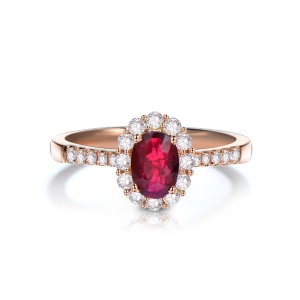 1.05克拉红宝石 40分钻石戒指