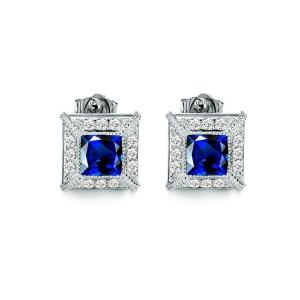 1.2克拉蓝宝石 29分钻石耳钉