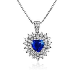 1.960克拉蓝宝石 69分钻石吊坠