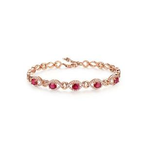 红宝钻石手链约7克红宝石约4.9克拉