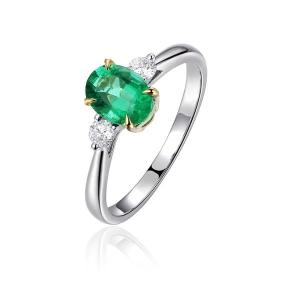 2.410克拉祖母绿 8分钻石戒指