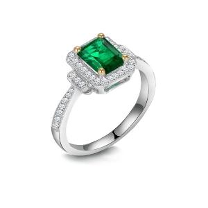 1.280克拉祖母绿 23分钻石戒指