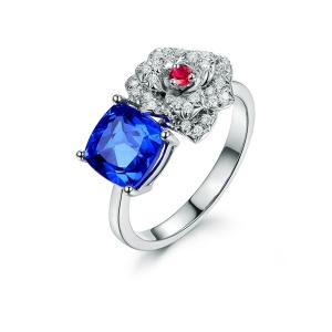 1.085克拉蓝宝石 32分钻石戒指