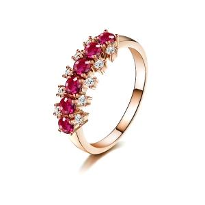 0.330克拉红宝石 10分钻石戒指