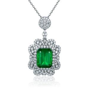 0.93克拉祖母绿 47分钻石吊坠