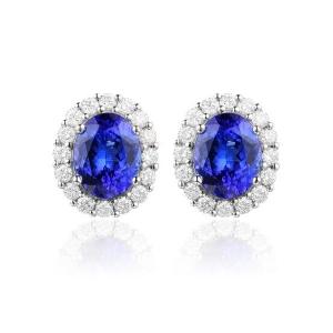 1.35克拉蓝宝石 43分钻石耳钉