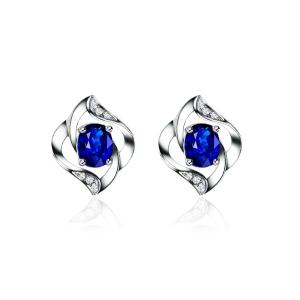 1.080克拉蓝宝石 4分钻石耳钉