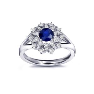1.365克拉蓝宝石 41分钻石戒指